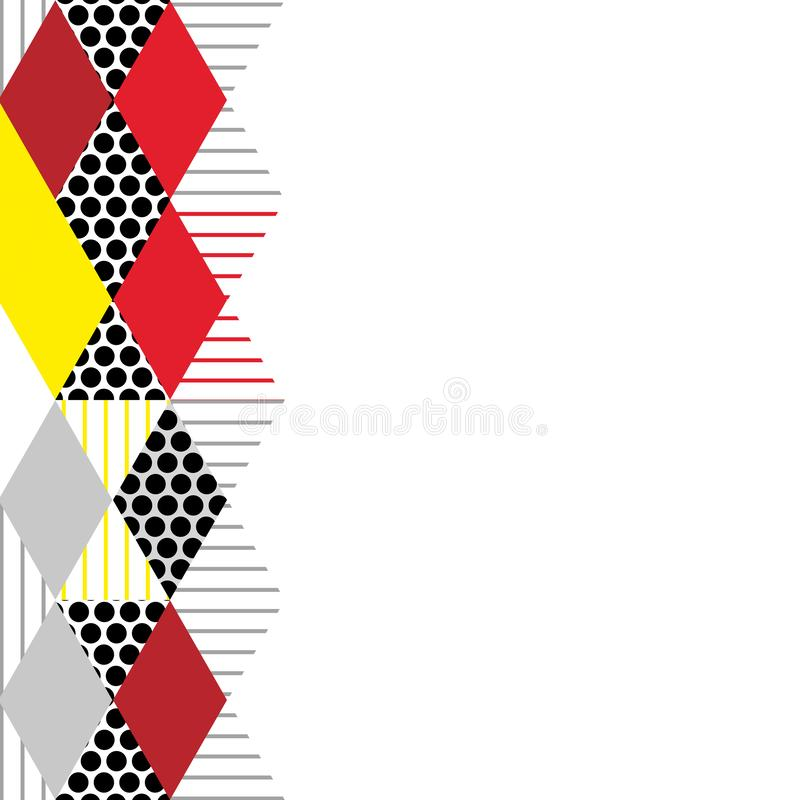 Card banner template Geometric elements Memphis Postmodern Retro fashion style 80-90s. asymmetrical shapes Rhombus triangle patter. N. Yellow Red gray black royalty free illustration