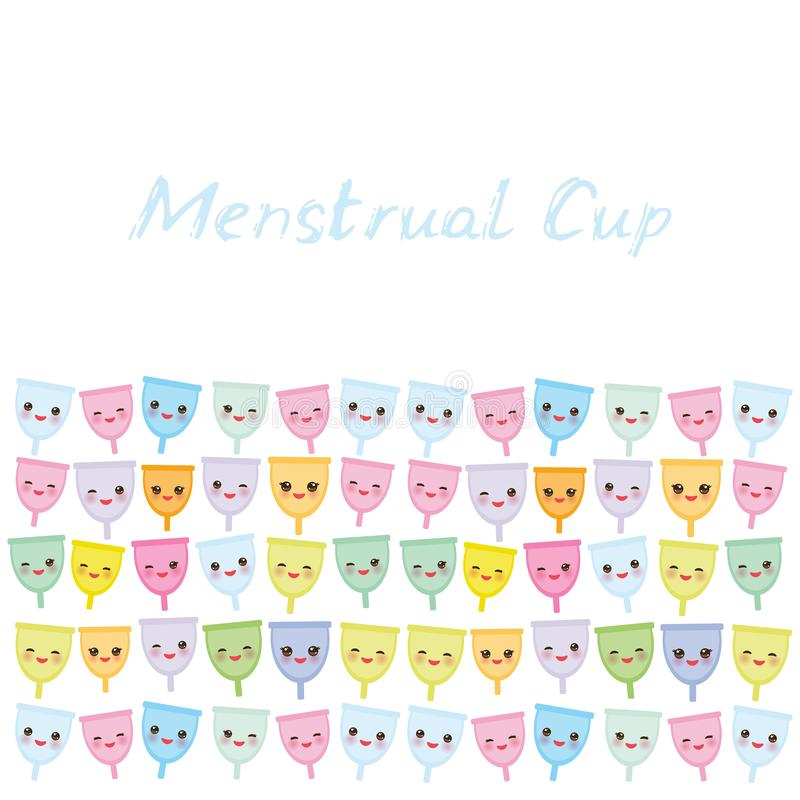 Card banner template Kawaii menstrual cup is a feminine hygiene product made of flexible medical grade silicone and shaped like a. Bell, pink cheeks and eyes royalty free illustration