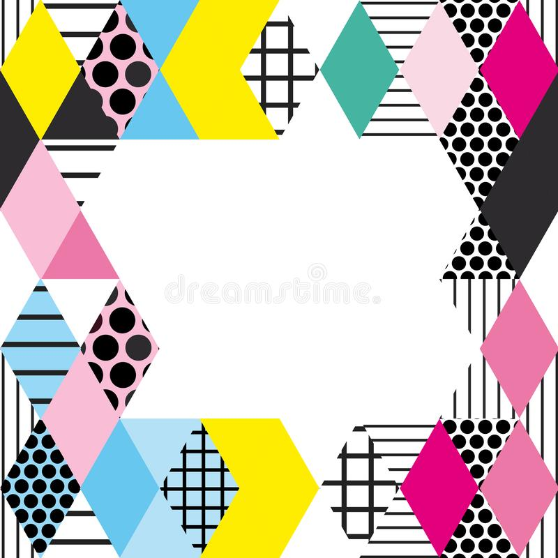 Card banner template square Geometric elements Memphis Postmodern Retro fashion style 80-90s. asymmetrical Rhombus triangle patter. N. Yellow blue green pink royalty free illustration