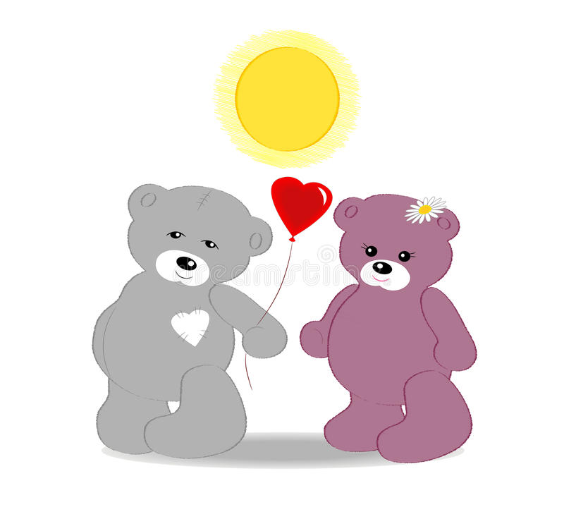 Card with bear cubs. To the Valentine's day vector illustration