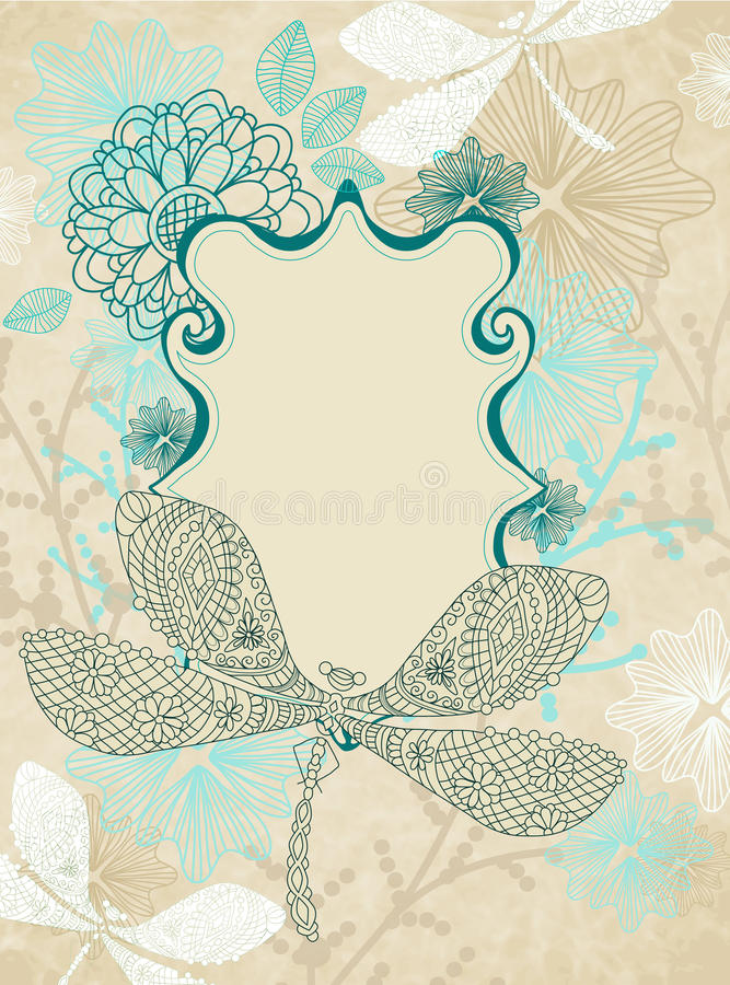 Card with beautiful dragonfly and flowers royalty free illustration