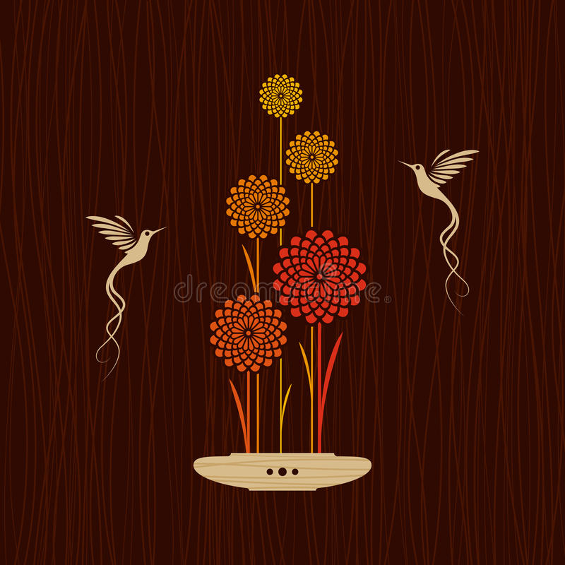 Card With Birds And Flowers Royalty Free Stock Images