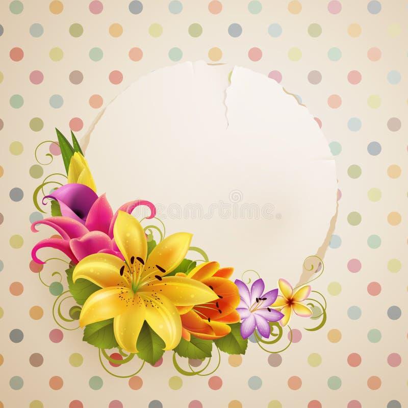 card blommor som greeting tappning stock illustrationer