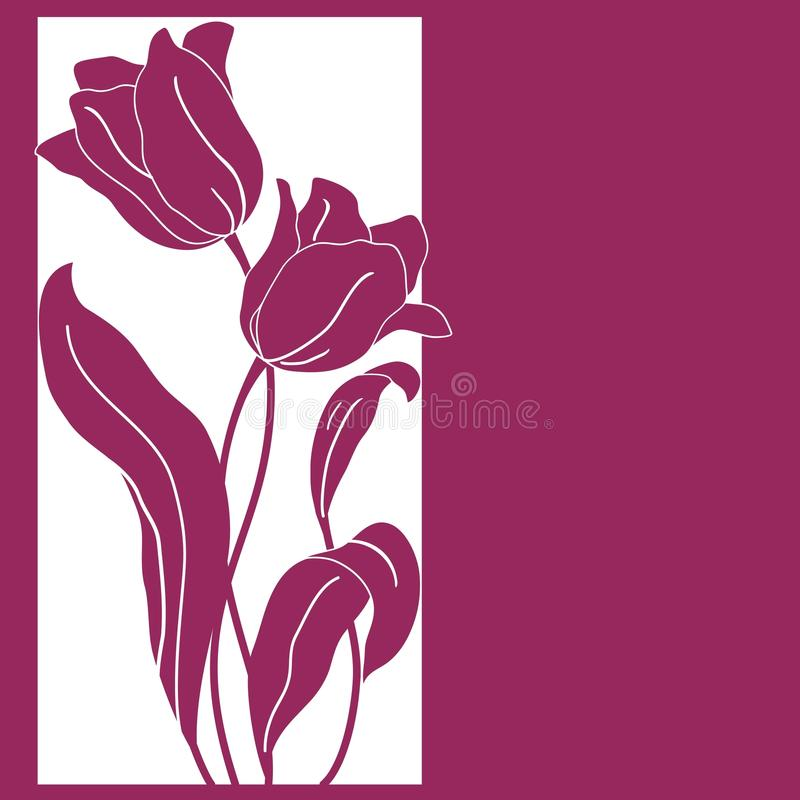 Download Card With Bouquet Of Two Tulips Stock Vector - Image: 33865425