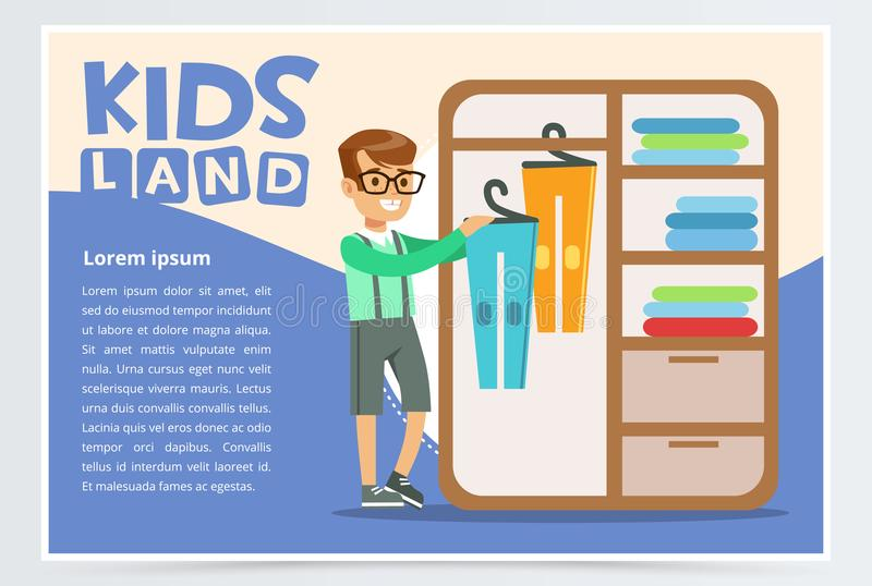 Card with boy hangs clothes in the closet. Kid doing a home cleanup, household chores. Teenager cleaning his room. Flat. Blue card or poster with boy hangs vector illustration