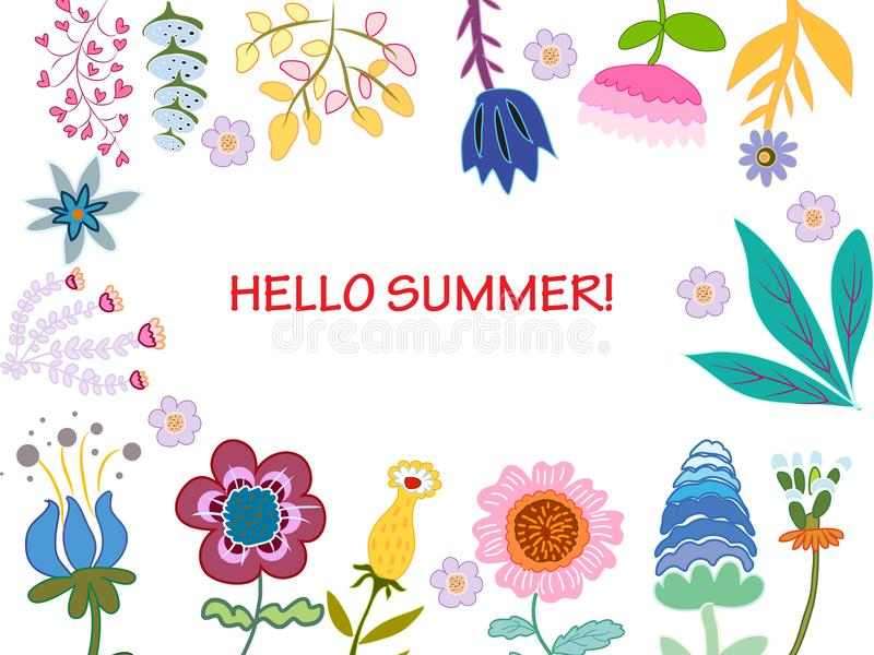 Card with bright multicolored decorative flowers and leaves on a vihte background hello summer. Card with bright multicolored decorative festivesflowers and royalty free illustration