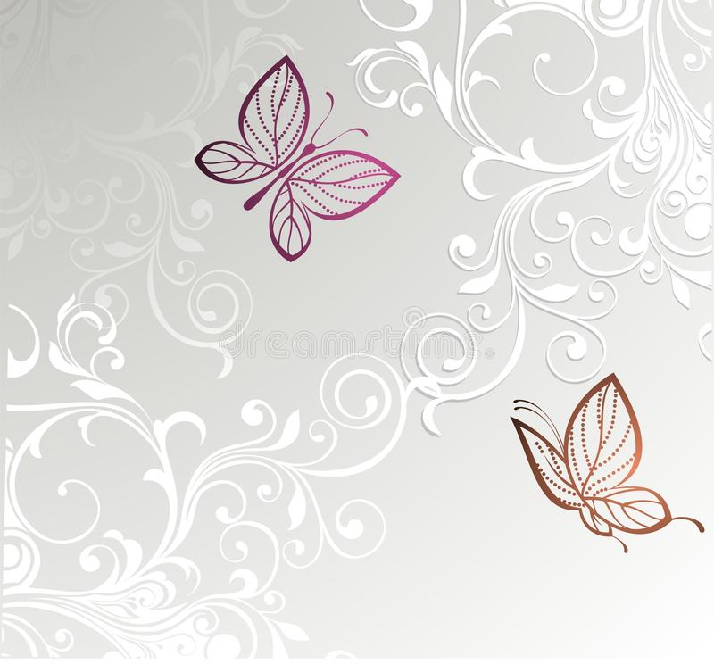 Card with butterfly. Butterfly floral love valentine background stock illustration