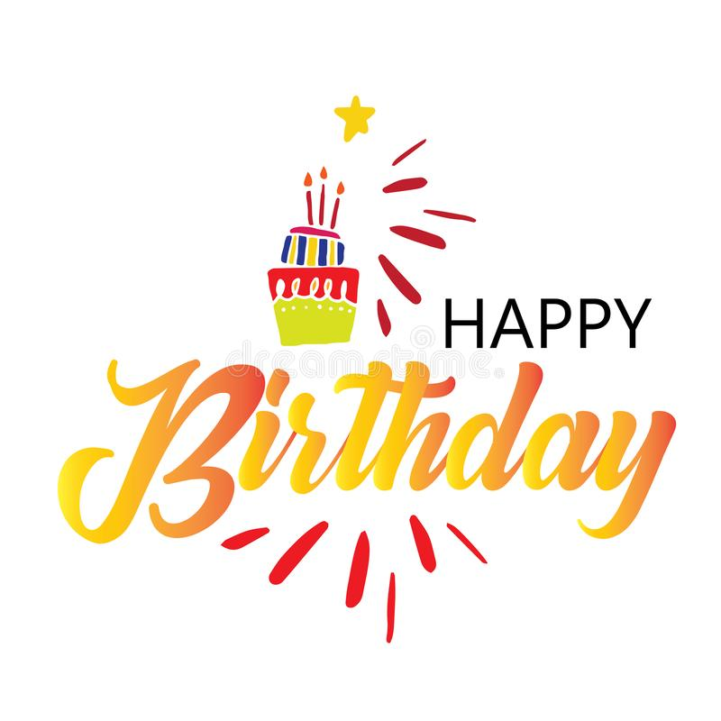 Card with calligraphy lettering happy birthday. Vector illustration in scandinavian style - Vector royalty free illustration