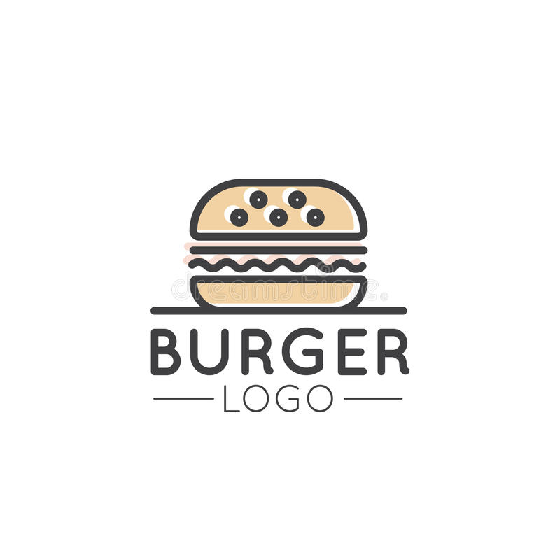 Card Cartoon Outline Logo of Fast Food Shop, Urban Place, Burrito, Burger, Sandwich or Hot Dog Bar, Grill House stock illustration