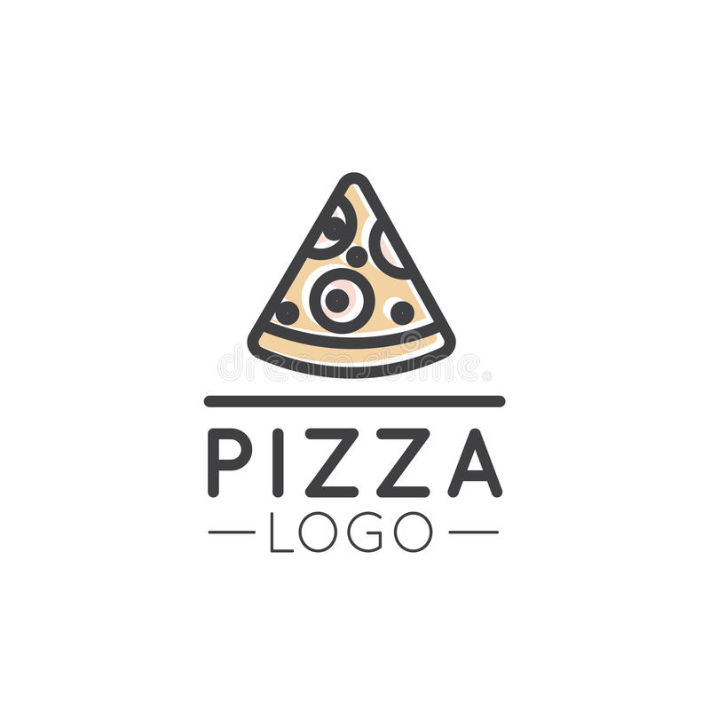 Card Cartoon Outline Logo of Fast Food Shop, Urban Place, Pizza, Pasta, Grill House royalty free illustration