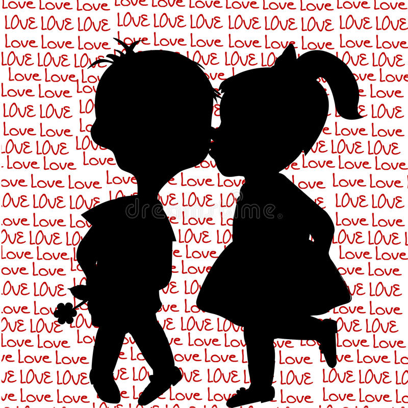 Card with cartoon silhouettes of a boy and a girl kissing stock illustration