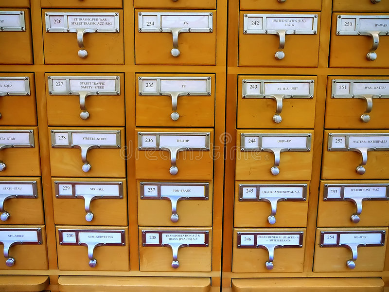 Download Card Catalog Cabinet In Academic Library Royalty Free Stock Photography - Image: 4074387