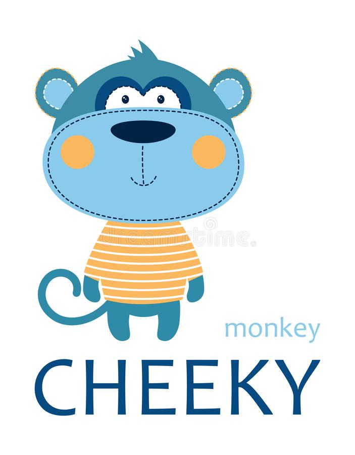 Card of cheeky monkey. Cheeky monkey in striped tshirt with lettering isolated on white background, tshirt design for kids vector illustration vector illustration