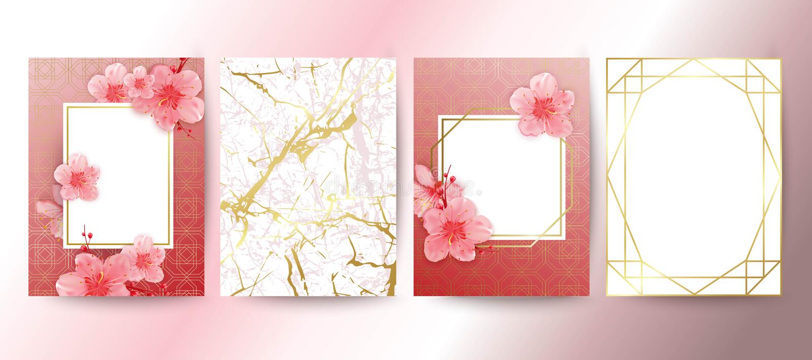 Card with cherry blossoms. Geometric frame. White and gold marble texture. Sakura flowers. Wedding invitation design. vector illustration