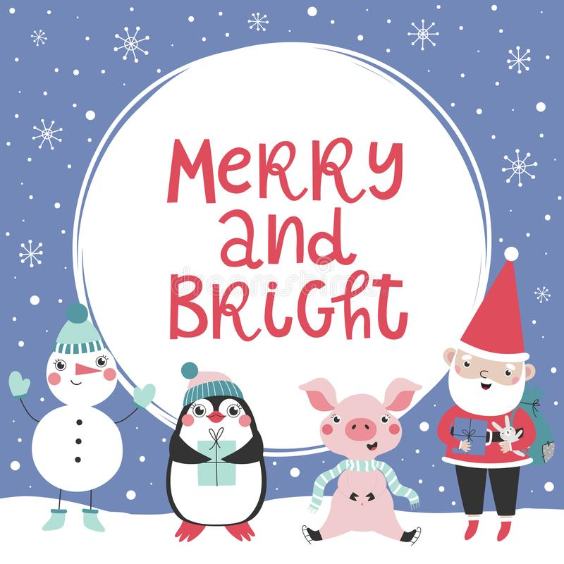 Card with christmas characters and text Merry and Bright royalty free illustration