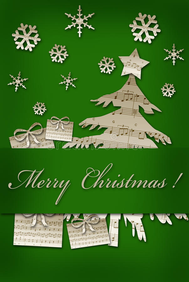 Card with christmas symbol shapes cut from vintage music sheets royalty free illustration