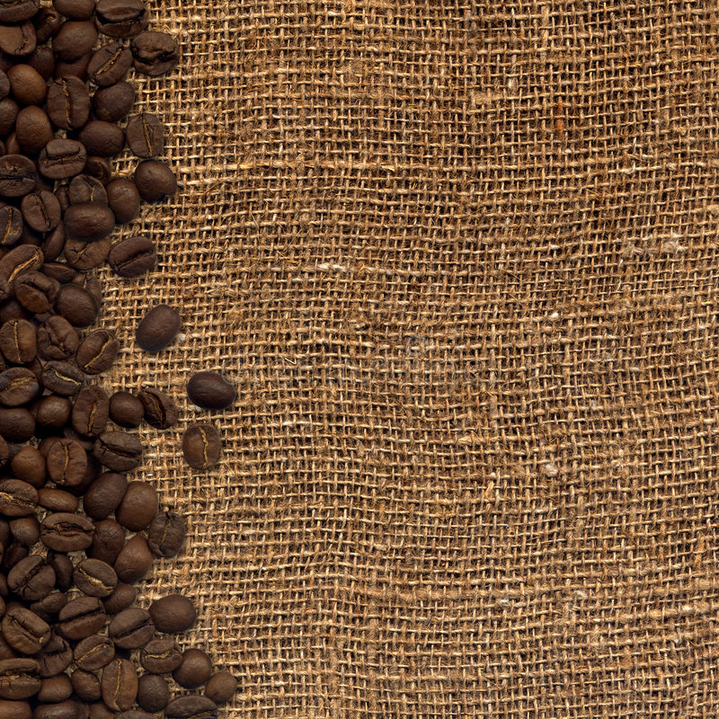 card with coffee beans on background sacking stock illustration