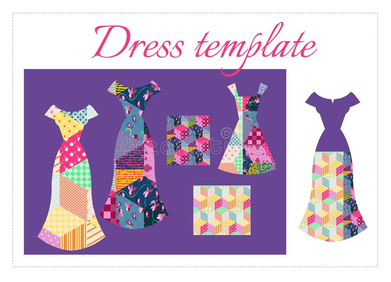 Card with collection of beautiful summer dresses and patchwork patterns vector illustration
