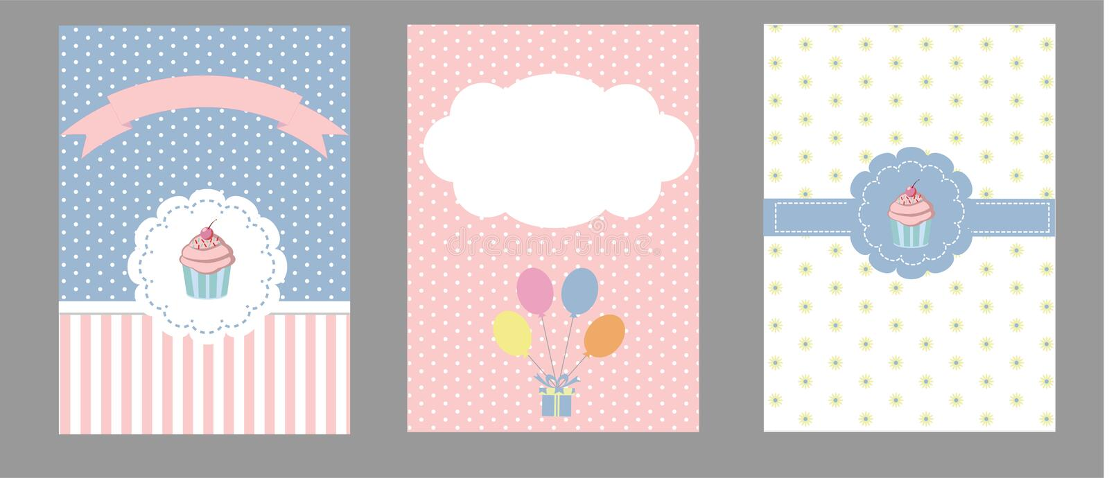 Card collection for birthday, invitation and party royalty free stock photos