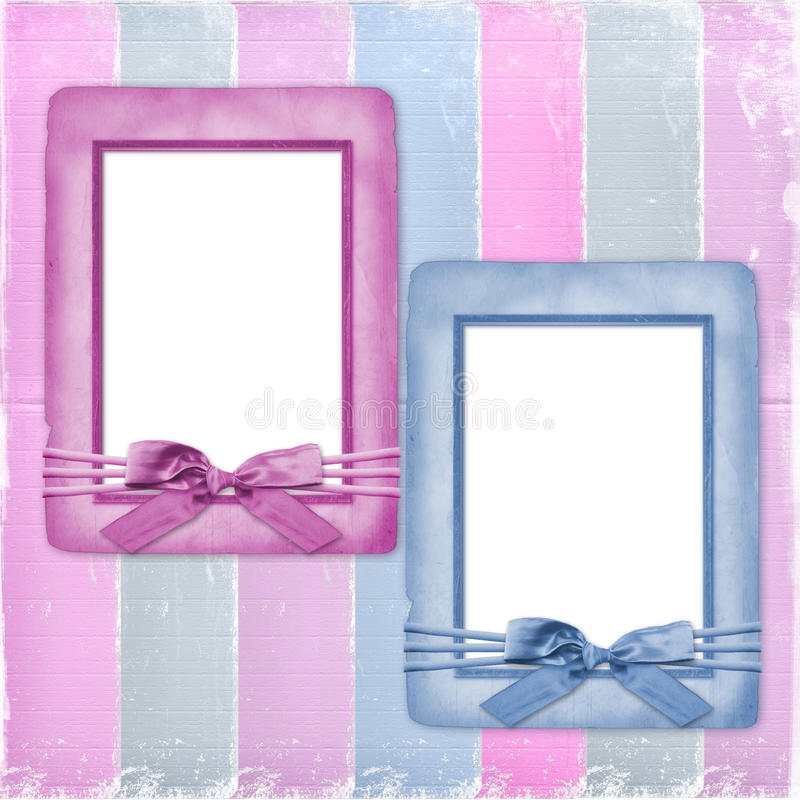 Download Card For Congratulation With Frames And Bows Stock Photo - Image: 25004400