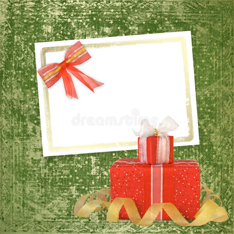 Download Card For Congratulation With Gift Boxes Stock Photo - Image: 22389826