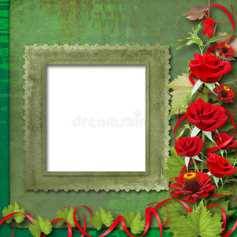 Download Card For Congratulation With Red Roses Stock Photos - Image: 15606103