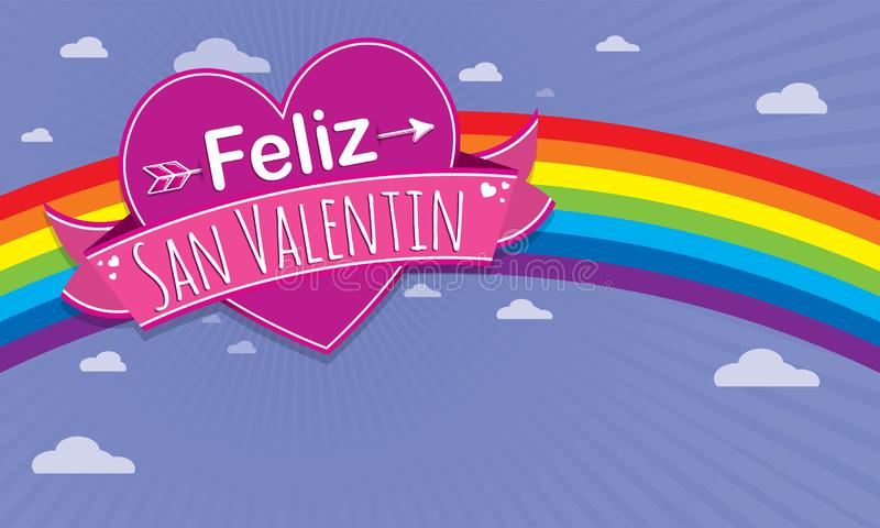 Card cover with message: Feliz Dia de San Valentin -Happy Valentines Day in Spanish language- on a purple heart surrounded. With pink ribbon on a blue stock illustration