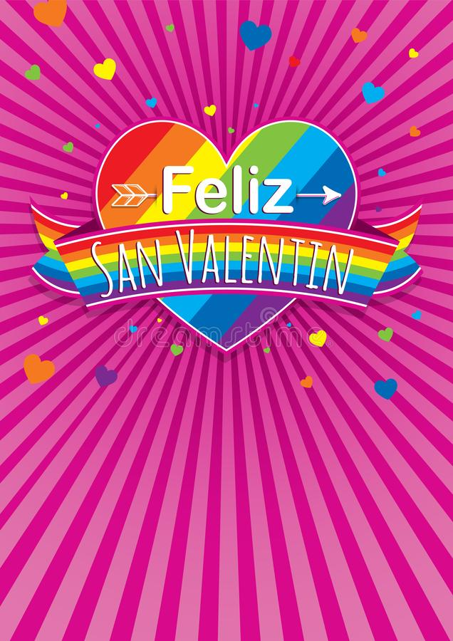 Card cover with message: Feliz Dia de San Valentin -Happy Valentines Day in Spanish language- on a rainbow heart surrounded. With multicolor ribbon on a purple royalty free illustration