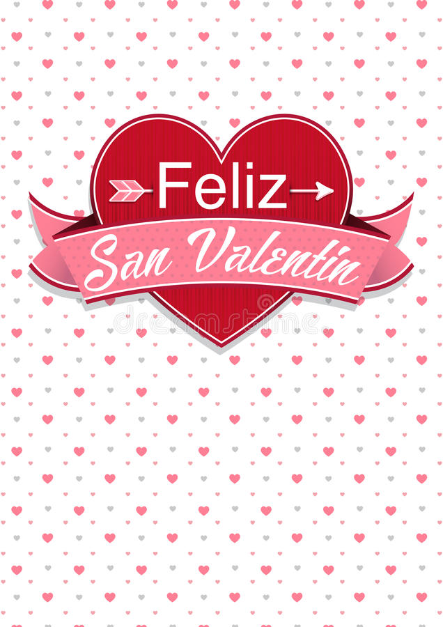 Download Card Cover With Message: Feliz San Valentin  Happy Valentines Day  In Spanish Language