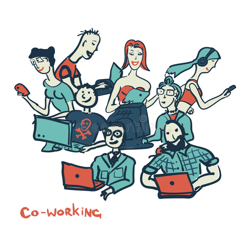 Card coworking with people of all ages with laptops and computer. S stock illustration