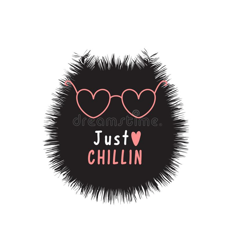 Card with creative black cat, pink glasses and text just chillin. stock illustration