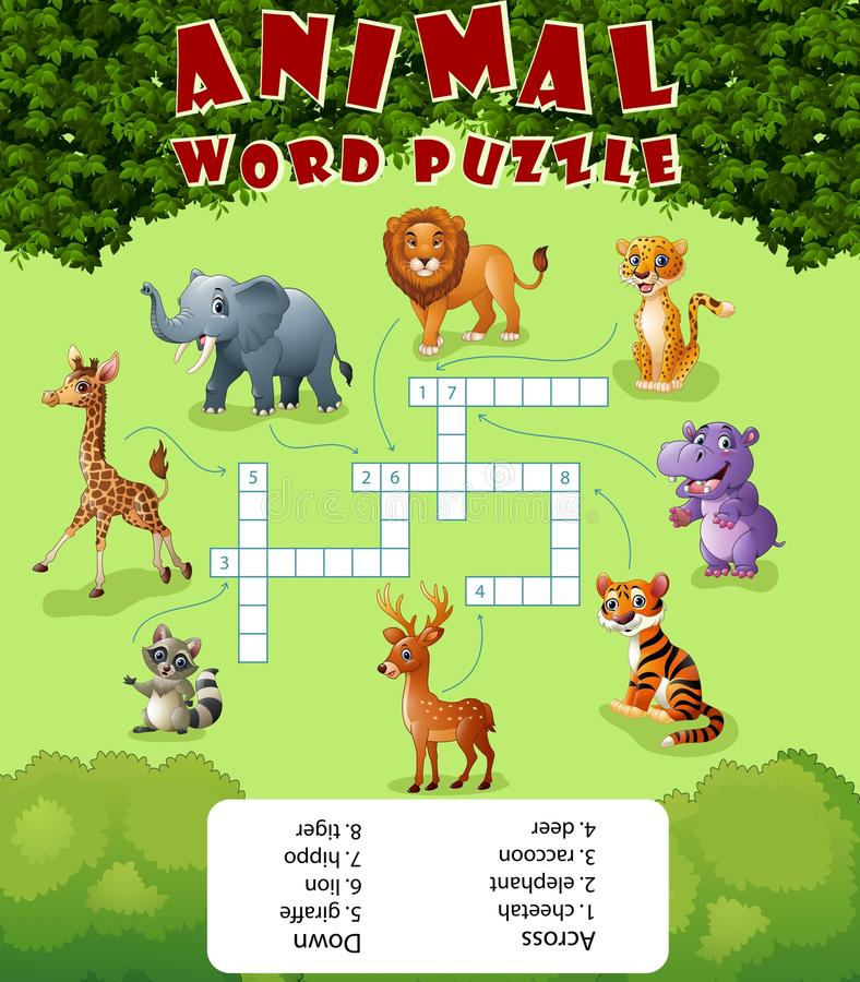 Card with crossword, education game for children about wild animals vector illustration