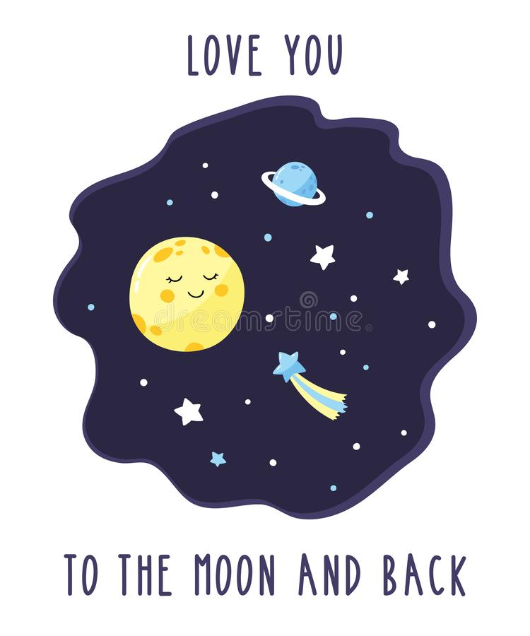 Card with cute cartoon moon in the night starry sky. Inscription Love you to the moon and back. stock illustration