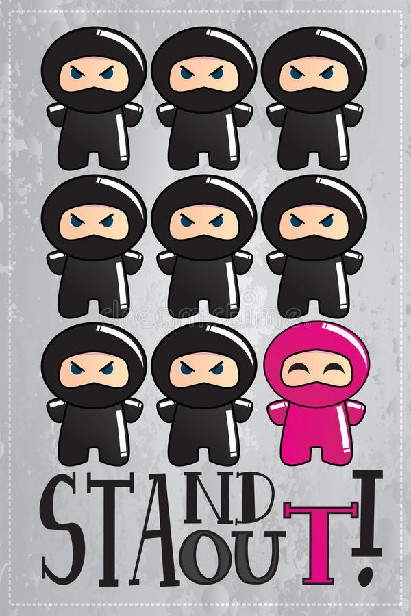 Card with cute cartoon ninja character royalty free illustration