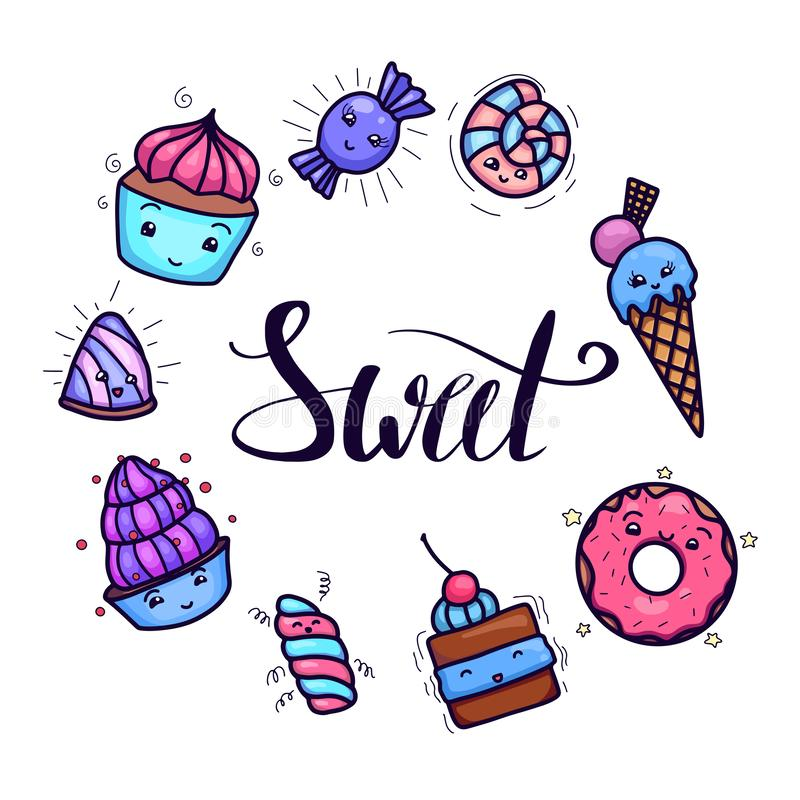 Card with cute, kawai sweets and confection with Sweet hand drawn lettering vector illustration