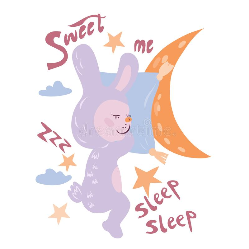 Card with cute sweet sleeping bunny or rabbit, moon, stars and lettering. Good night topic cartoon animal and Sleep Sweet text for nursery and children items royalty free illustration