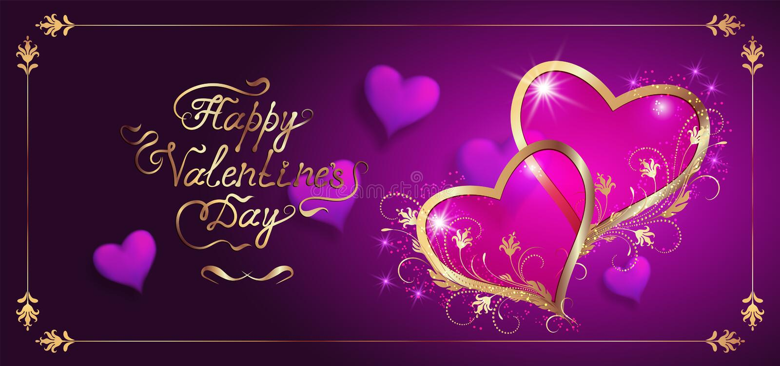 Card with decorative hearts and handwriting romantic calligraphic lettering royalty free stock image