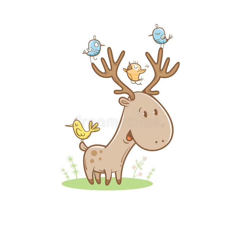 Card with deer. Card with cute cartoon deer and birds. Little funny animal. Children's illustration. Vector image. Big horns royalty free illustration