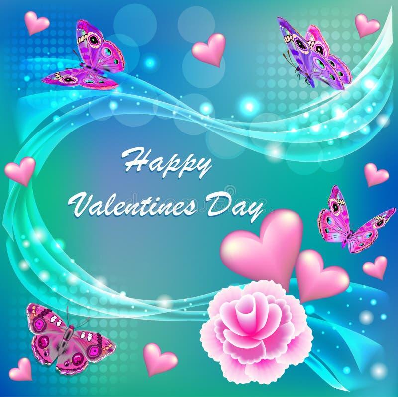 card den lyckliga dagen för valentin` s med en blomma och ett smör royaltyfri illustrationer