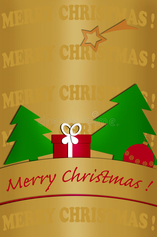 Card design with christmas tree on gold background