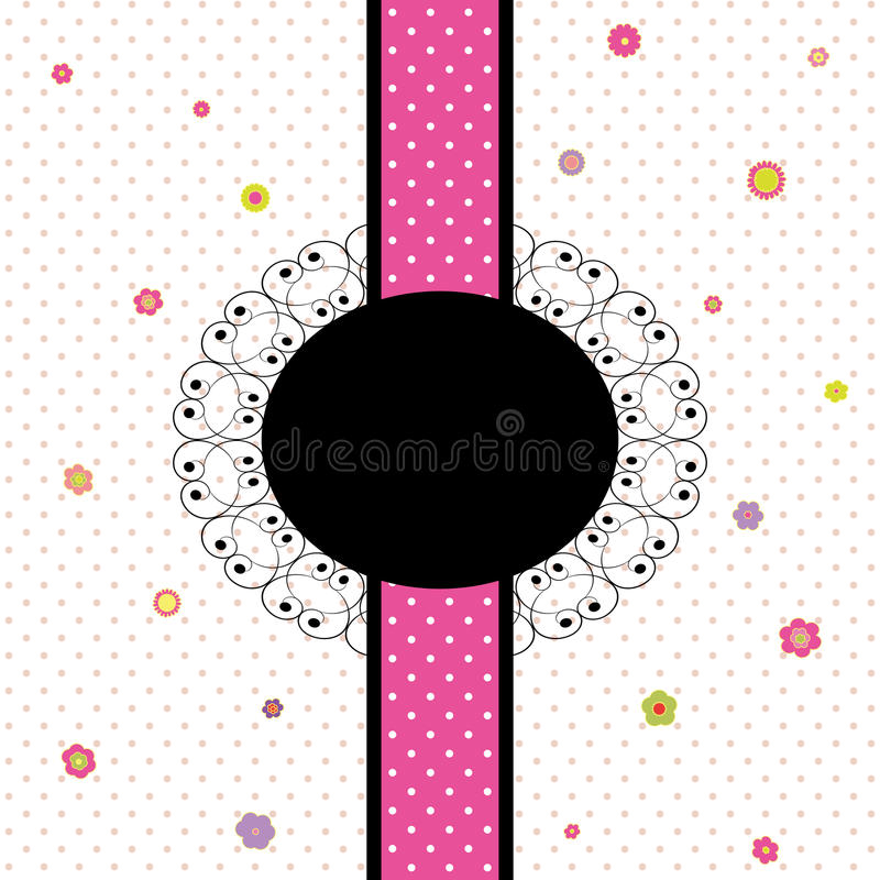 Download Card Design With Colorful Flower And Polka Dot Stock Vector - Image: 20521384