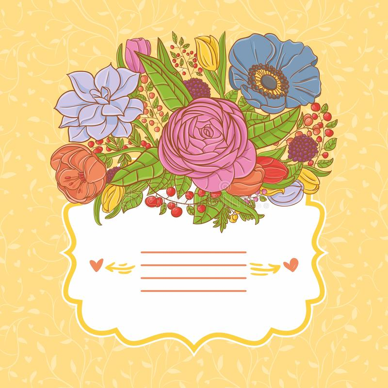 Card design with flowers on seamless pattern vector illustration