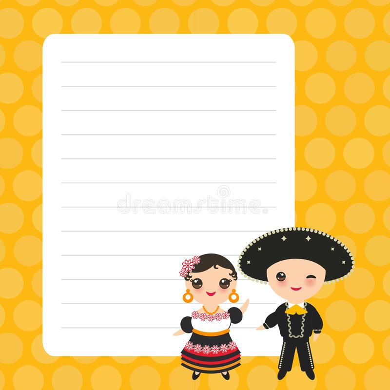 Card design with Kawaii Mexican boy and girl in red national costume and hat. Cartoon children, orange yellow pastel colors polka. Dot lined page notebook stock illustration
