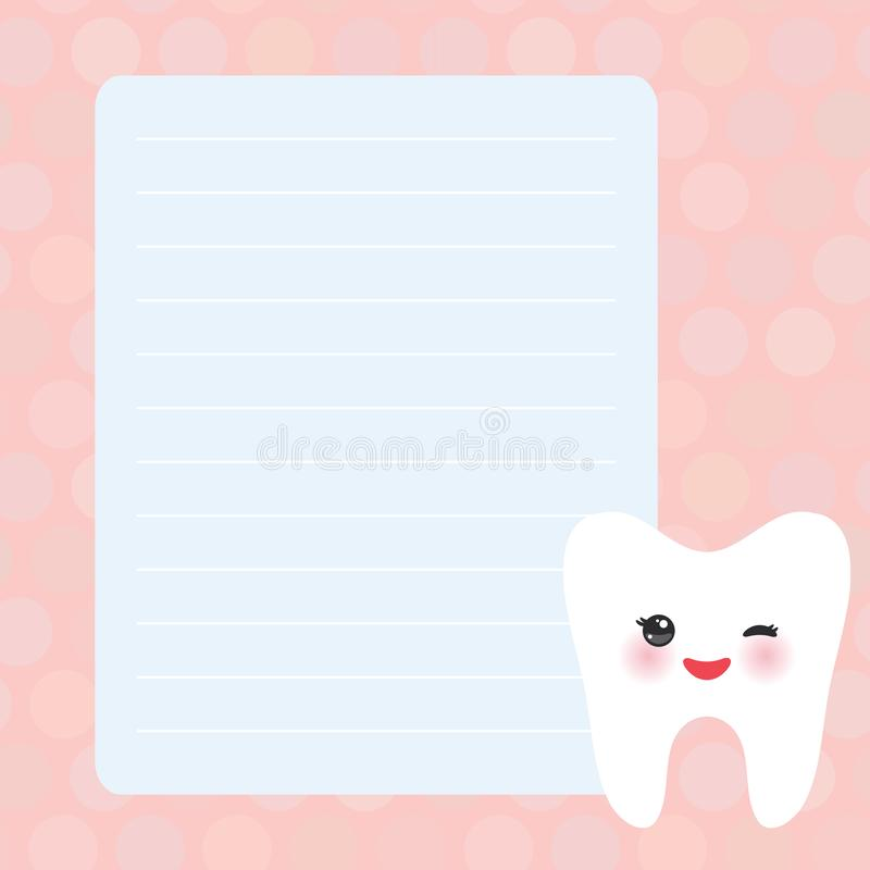 Card design with Kawaii Smiling tooth with eyes pink blue pastel colors polka dot lined page notebook, template, blank, planner stock illustration