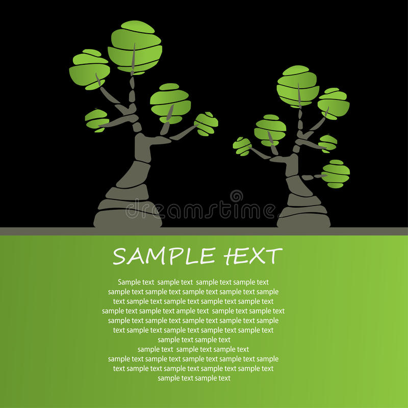 Card design with stylized trees. For you royalty free illustration