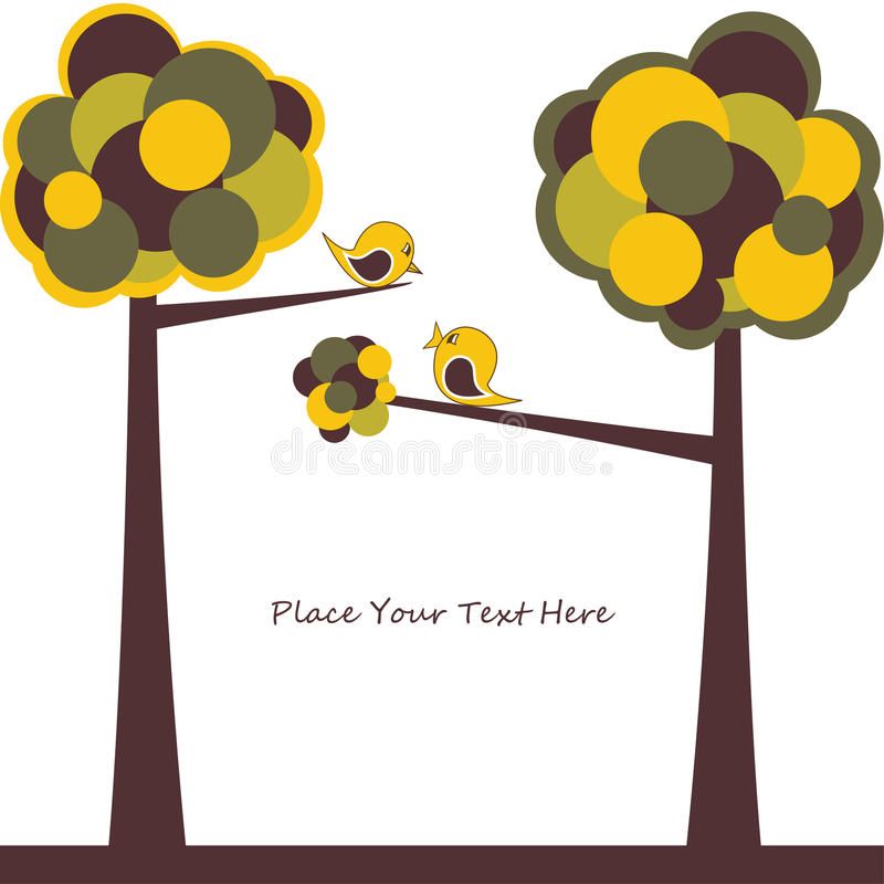 Card design with stylized trees and text. For you royalty free illustration