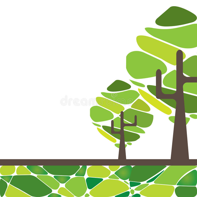Card design with stylized trees and text. For you stock illustration