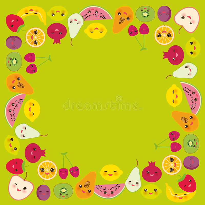 Card design for your text, banner template, square frame strawberry, orange, banana cherry, lime, lemon, kiwi, plums, apples. Card design for your text, banner royalty free illustration