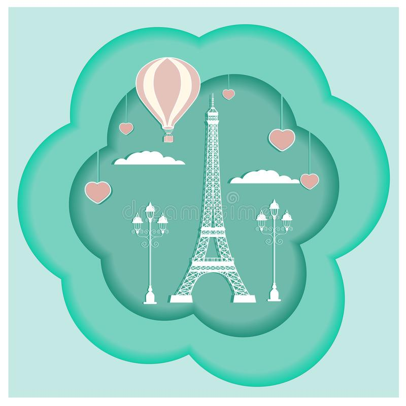 Card desing with Eiffel tower royalty free stock photos