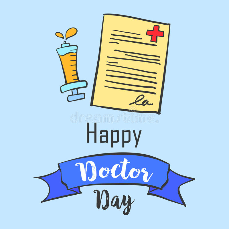 Card for doctor day celebration. Vector art
